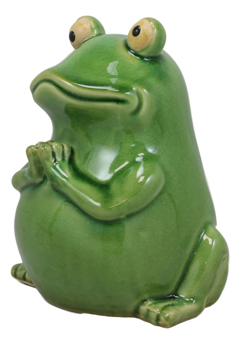 "Ebros 7.25"" Tall 'Hoppy' Wishes Ceramic Yoga Green Frog Praying Frogs Figurine"