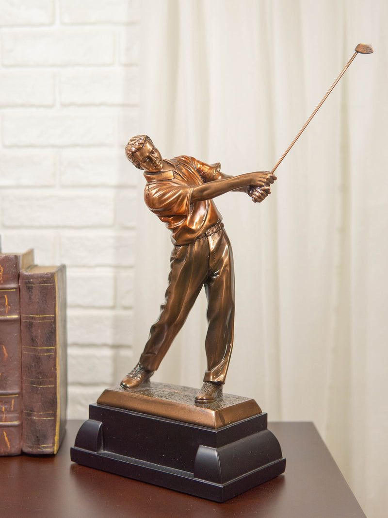 "Professional Golfer Swinging Golf Club Bronze Electroplated Decor Statue 15"" H"