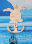 "Ebros Gift 4.75"" Tall Nautical Ocean Sea Turtle Cast Iron Rustic Vintage Wall Coat 2 Pegs Hook Tortoise Turtles Coastal Beach Decorative Accent Hooks for Keys Leashes Hats (1)"