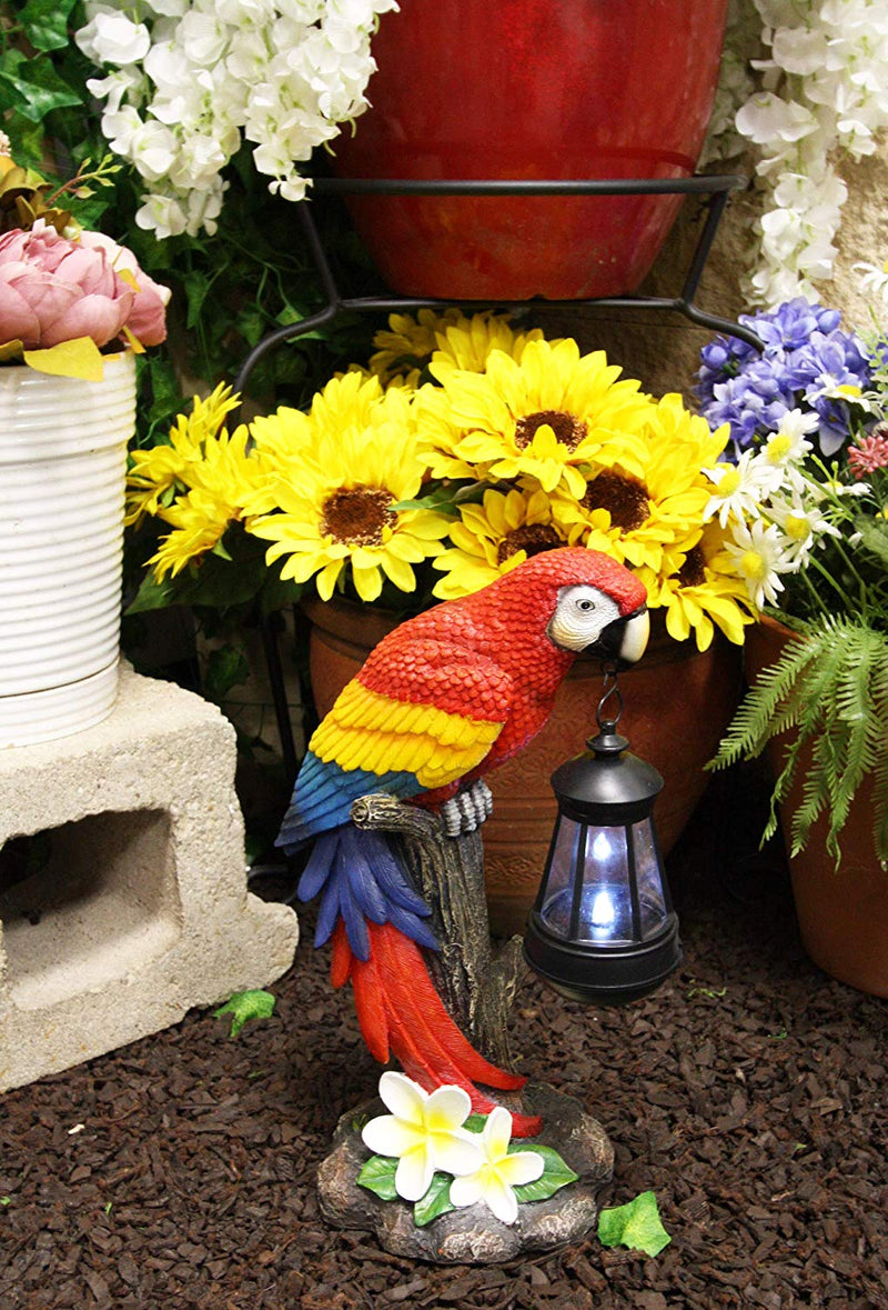 "Ebros 14"" Tall Red Scarlet Macaw Parrot Perching On Tree Stump Statue with Solar LED Lantern Light Path Lighter Home Garden Patio Parrots"