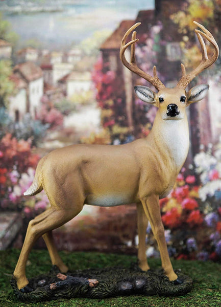 "Ebros Gift Wildlife 8 Point Trophy Buck Statue 15"" H Whitetail Deer Figurine"