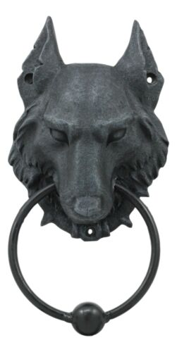 "Ebros Full Moon Gothic Chained Wolf Gargoyle Door Knocker Figurine 8.25""Tall Faux Stone Finish With Metal Ball"