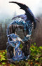 "Large 21""H Blue Frozen Dragon On Cavern With Wyrmling By Ice Stalagmite Statue"