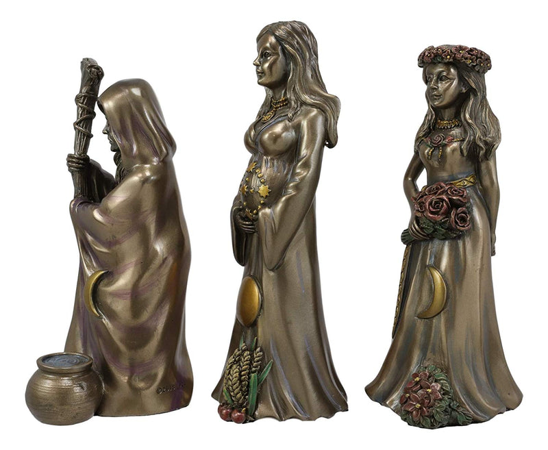 Ebros Celtic Sacred Lunar Cycle Triple Goddess Statue Triology of Feminism Dianic Wiccan Cosmic Trinity Hecate Artemis and Diana Decorative Figurine (Maiden Mother Crone Triune Moon Set of 3)