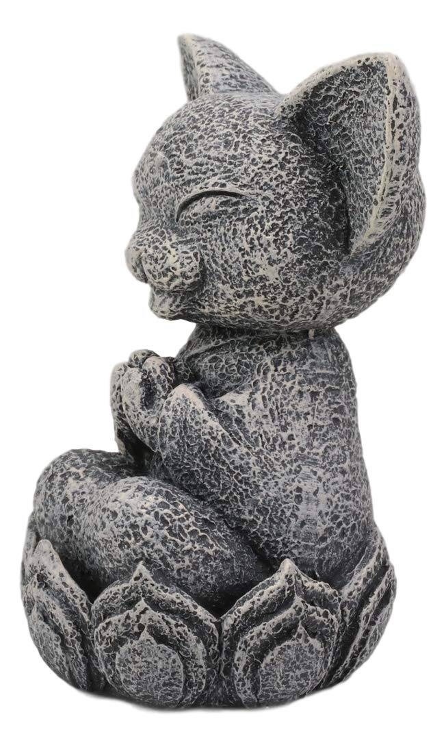 "Ebros Feng Shui Zen Meditating Japanese Jizo Cat Monk On Lotus Throne Mini Statue 4"" Tall Bodhisattva Buddha Talisman of Protection for Children and Baby Memorial Decor Figurine Jizos Buddhas"