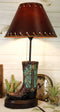 Western Tooled Turquoise Cowboy Boot Hand Painted Desktop Table Lamp With Shade