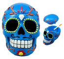 "Ebros Dulce De Muerte Day of The Dead Blue Sugar Skull Ashtray Tribal Tattoo Skull Jewelry Box Figurine 6""Long"