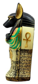 "Ancient Egyptian God Anubis Sarcophagus Coffin With Mummy Figurine 5""H Decor Box"