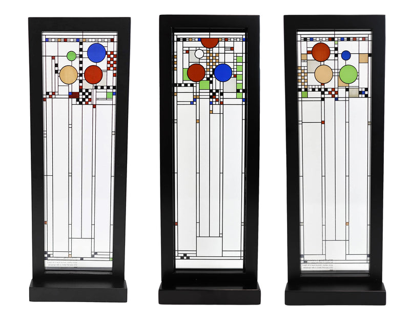 Frank Lloyd Wright Coonley Playhouse Window Panels Stained Glass Plaques Set