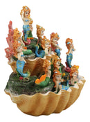 "Ebros 10"" Wide Colorful Nautical Ocean 2 Tier Golden Giant Clam Shell With Coral Reefs LED Glow Lights Display Stand With 12 Miniature Mergirls Figurine Set Fantasy Mergirl Mermaids Sirens of The Seas - Ebros Gift"