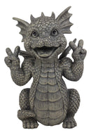 "Ebros Whimsical Garden Dragon with Hippie Peace Sign Gesture Statue 10.5"" Tall"