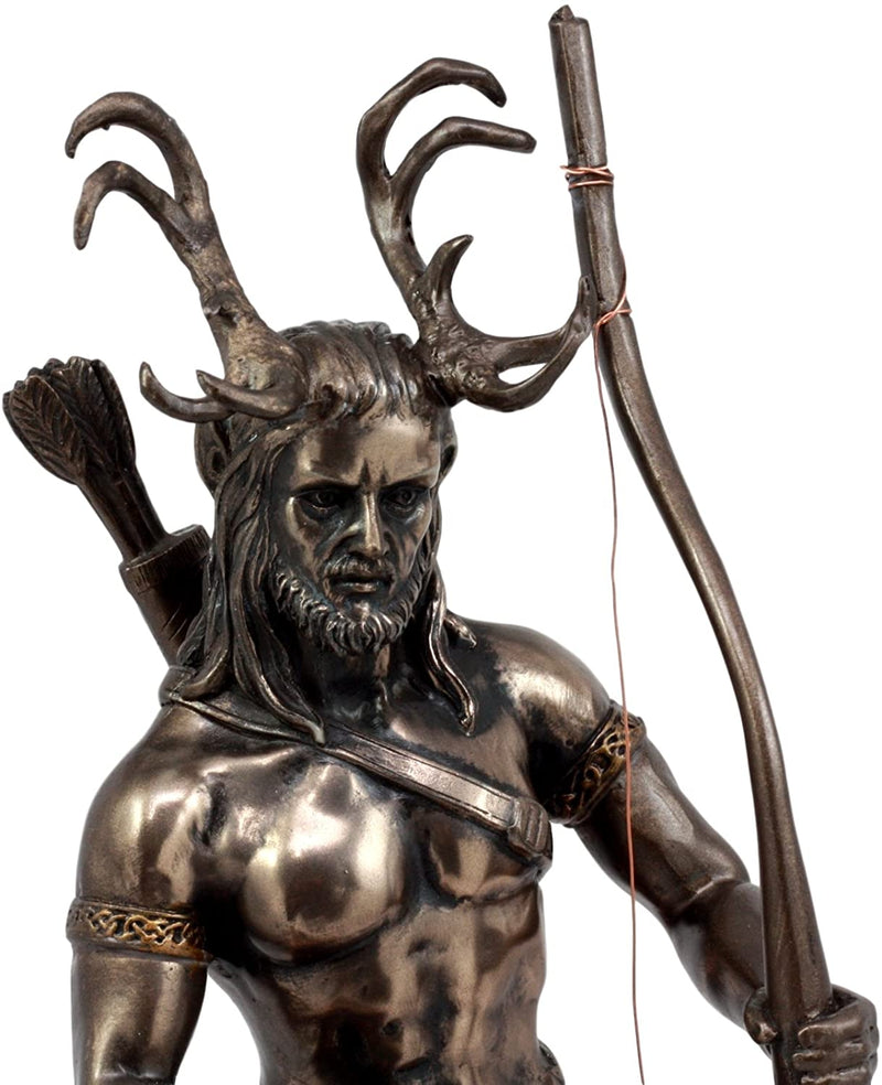 "Celtic Pagan God Herne The Hunter Statue 11""Tall In Bronze Patina The Horned God"