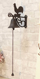 Cast Iron Rustic Western Farmhouse Rooster Chicken Door Wall Dinner Yard Bell
