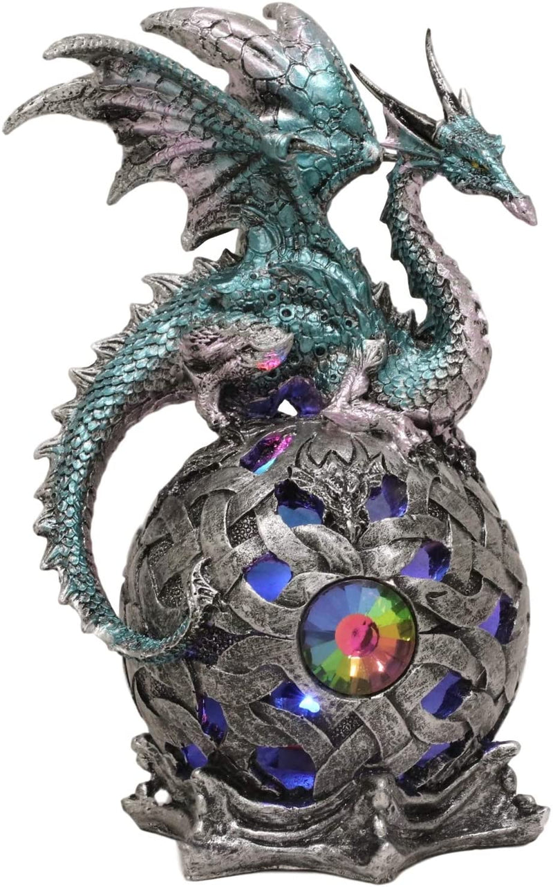Ebros Dragon Perching On Color Changing LED Orb Night Light Statue (Aqua Blue)