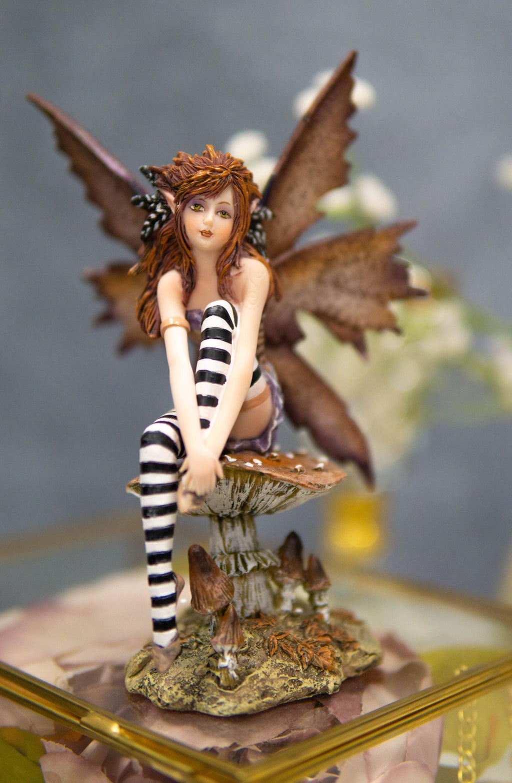 Ebros Gift Amy Brown Red Haired Enchanted Forest Mushroom Fairy Decorative Figurine 6 25 H