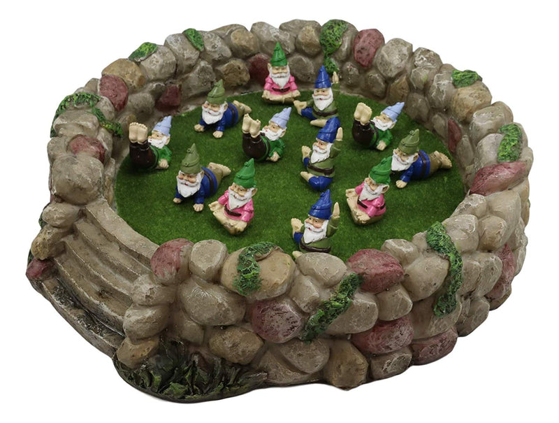 "Ebros Whimsical Fairy Garden Village Nook Stone Walls Planter Landscape with Steps for Miniature Figurines 12.25"" Wide (Stone Walls Planter With 12 Mini Yoga Gnomes)"