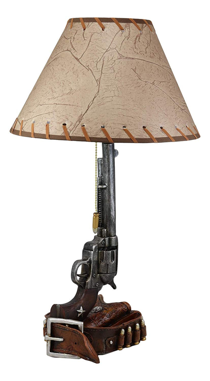 "Ebros Western Six Shooter Revolver Gun with Holster and Ammo Belt Base Desktop Bedside Table Lamp with Shade 20.5""Tall Country Cowboy Rustic Home Decor Accent"