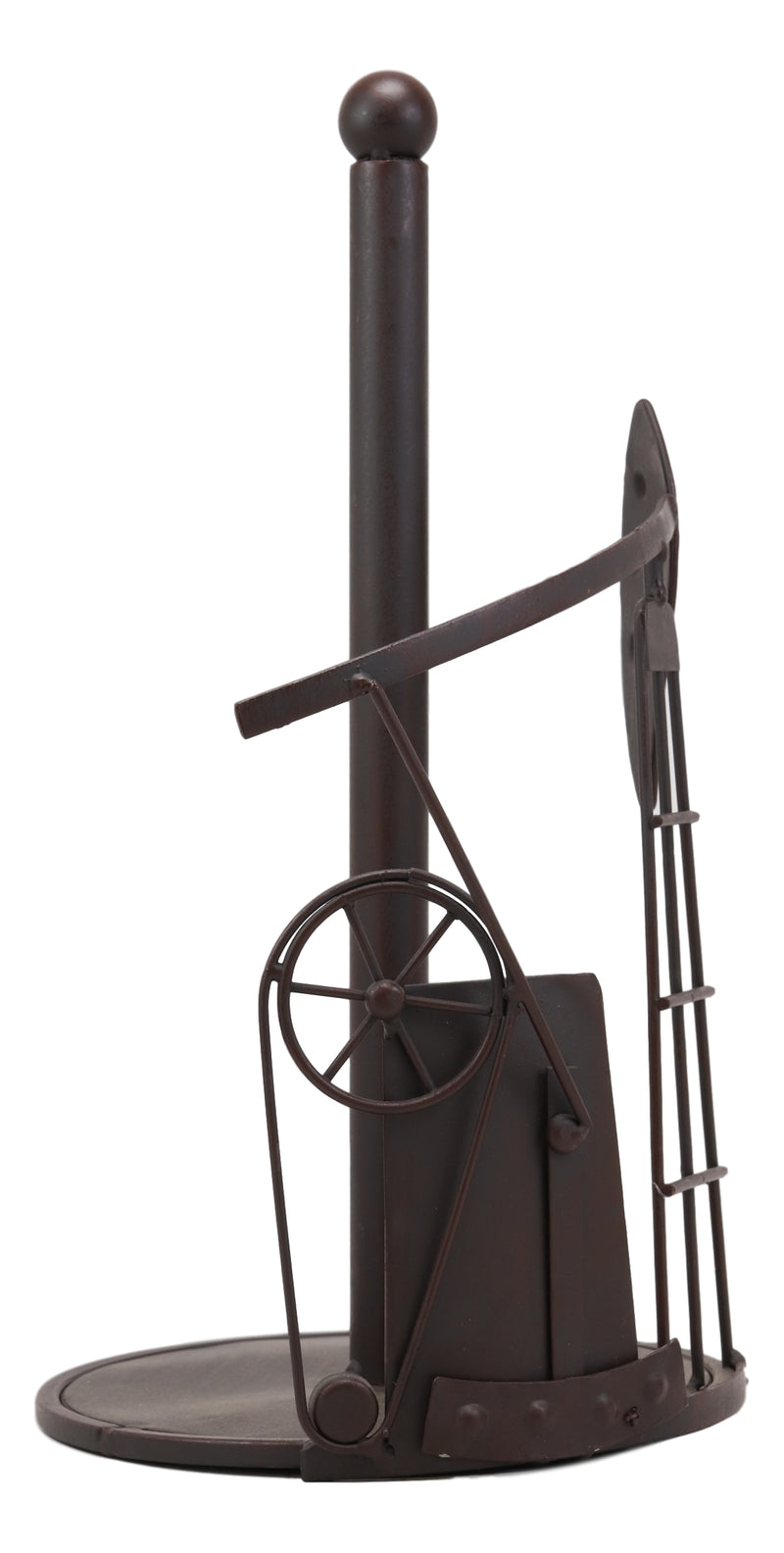 "Ebros 12.75"" Tall Rustic Vintage Oil And Gas Derrick Rig Platform Paper Towel Holder Display Dispenser Stand Made Of Handcrafted Metal Kitchen Bathroom Home Decor In Aged Bronze Finish Nodding Donkey - Ebros Gift"