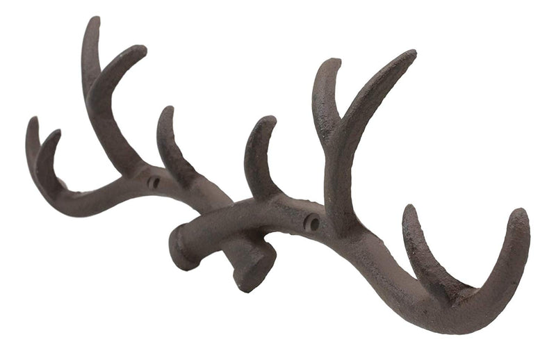 "Ebros 10 Point Stag Deer Antlers Rack Wall Plaque 14.5""W Coat Hooks Bronze Resin - Ebros Gift"