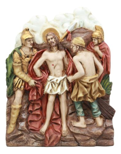 Ebros Christian Catholic Stations of The Cross Statue Way of The Sorrows Via Crucis Jesus Christ Path to Calvary Crucifixion Decor Figurine (Station 10 Jesus is Stripped of His Clothes)