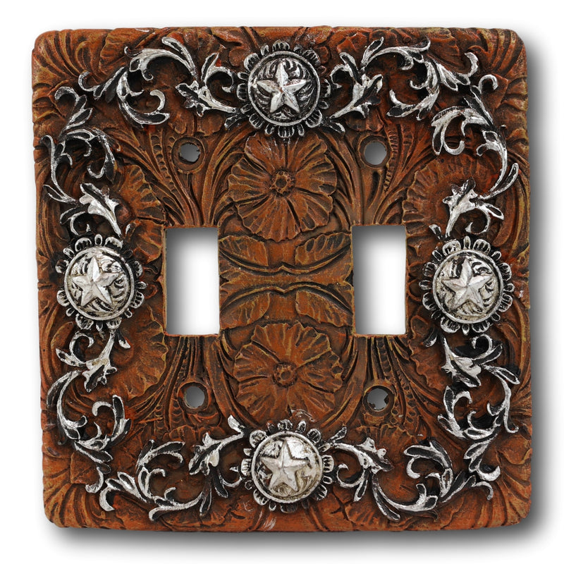 Set of 2 Western Stars And Tooled Lace Scroll Wall Double Toggle Switch Plates