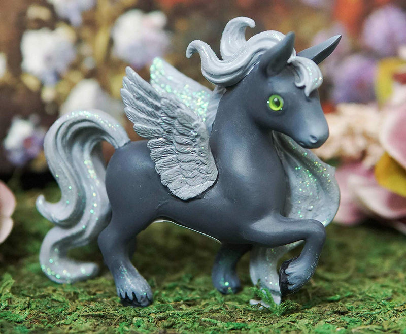 Ebros Fairy Tale Pegasus Horse Figurine Shelf Decor (Grey Shadow Milkyway)