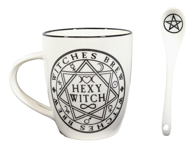 Magical Symbols Pentacles Witches Brew Hexy Witch Coffee Mug And Spoon Set