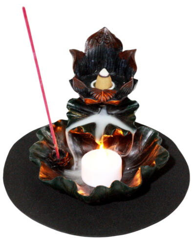 Feng Shui Zen Lotus Flower Incense Cone & Stick Burner Candle Holder Figurine