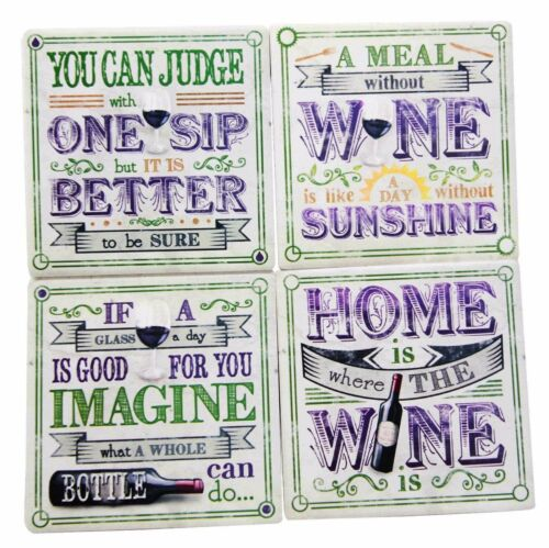 All About Wine Hosting Kitchen Decorative Ceramic Coaster Set Of 4 Corked Tiles