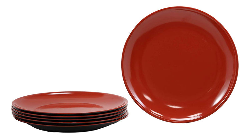 "Ebros Contemporary Round 11.5"" Diameter Red And Black Large Melamine Dinner Plate For Main Course Meals Pack Of 6 Set Kitchen Dining Asian Japanese Chinese Cuisine Restaurant Supply Dishwasher Safe"