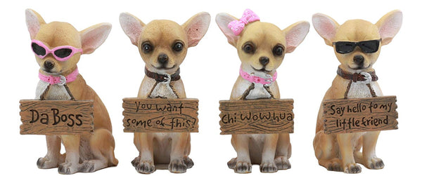 "Ebros Set of 4 Adorable Tea Cup Chihuahua Dog Holding Humorous Signs Small Figurines 4.25""Tall"