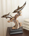 Nautical Marine 2 Dolphins Surfing Ocean Waves Electroplated Bronze Resin Statue