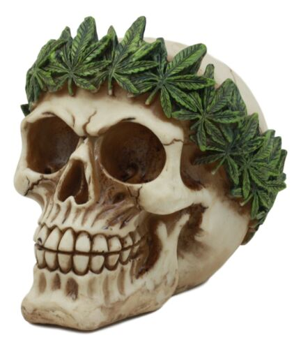"Pot Head Skull Statue 6""Long Gothic Skull With Weed Leaf Laurel Resin Figurine"