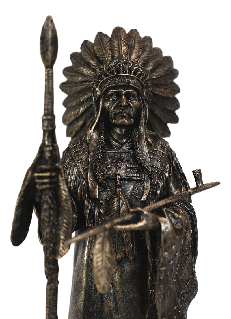 Native American Indian Chief With Eagle Roach Spear And Chalumet Pipe Statue