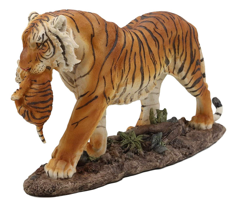 "Ebros 14.25"" Wide Large Realistic Wildlife Bengal Orange Tiger Mother Carrying Cub Statue Indian Jungle Tigers Giant Cats Decorative Resin Figurine Animal Collectible Home Decor Accent - Ebros Gift"