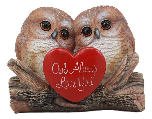 "Ebros Romantic Owl Couple Statue Wisdom Of The Forests Love Birds Pair Of Owls Holding Heart Shaped Sign Saying Owl Always Love You Decorative Figurine 5.25"" Tall"