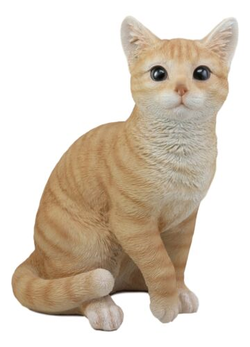 "Lifelike Sitting Orange Tabby Cat Statue 12""Tall With Glass Eyes Animal Decor"