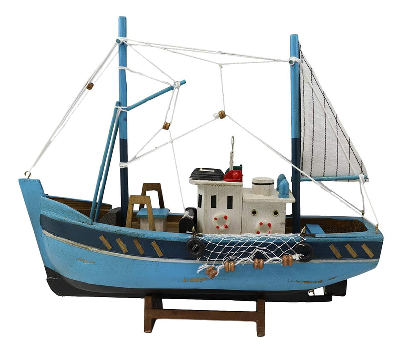 "Ebros 12"" L Blue Wooden Fishing Boat Model with Wood Base Stand Figure - Ebros Gift"