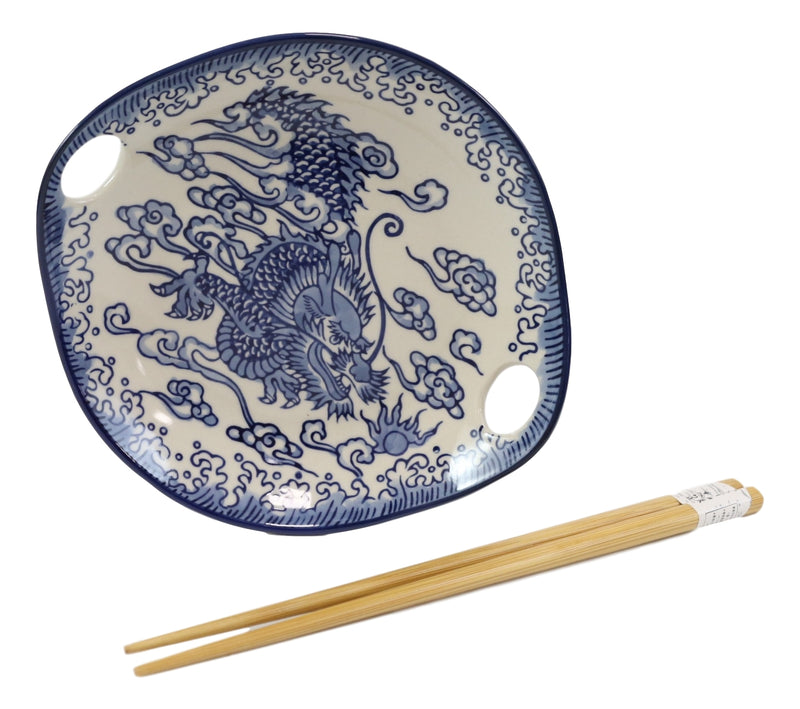 Blue Feng Shui Dragon Small Appetizer Coupe Plate Flat Bowl With Chopsticks Set