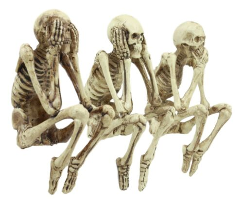 "See No Evil Hear No Evil Speak No Evil Skeletons Shelf Sitter 3.75"" Figurine"