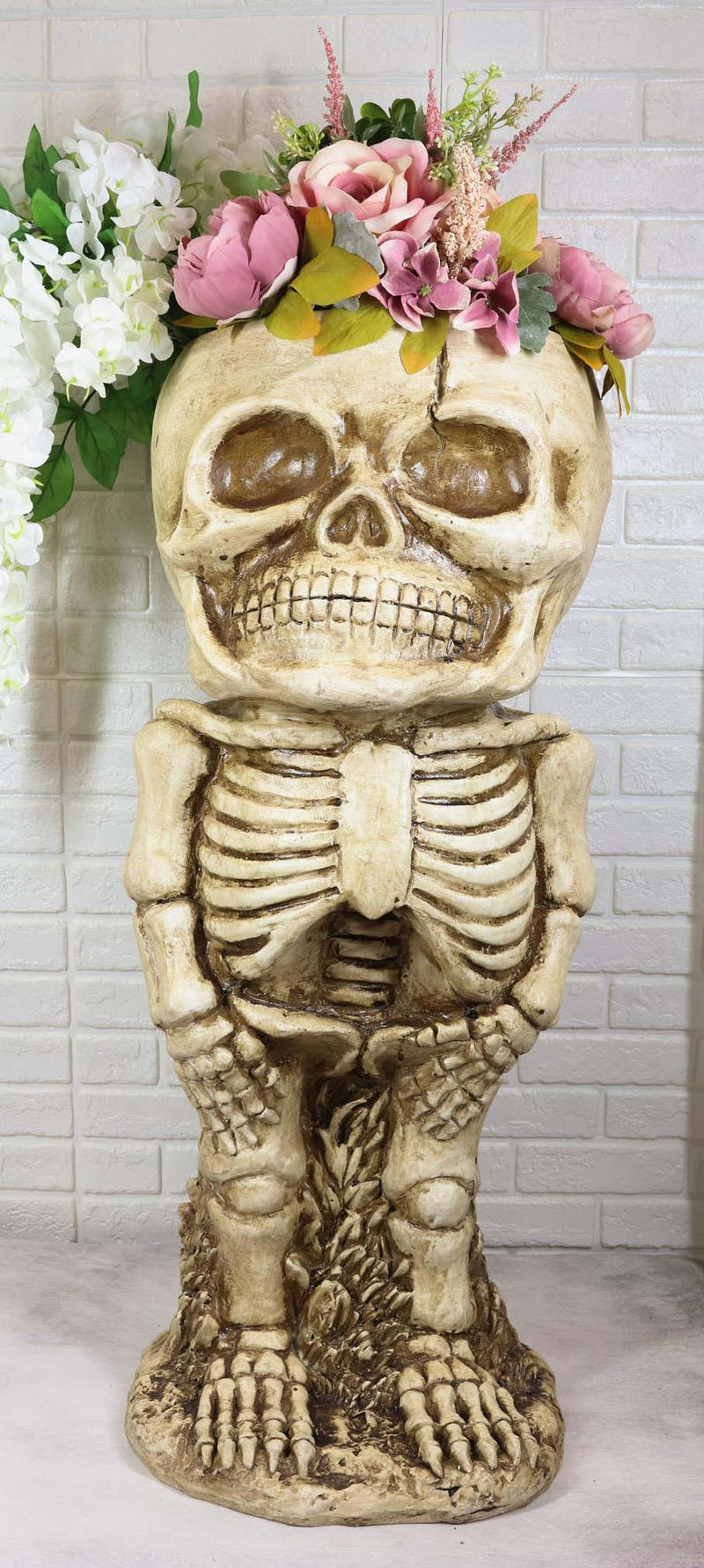 Large Grinning Baby Skeleton Skull Floral Nursery Plant Planter Bowl Pot Statue