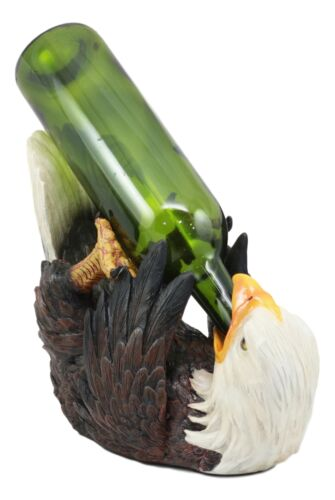 "Ebros American Pride Bald Eagle Wine Bottle Holder Figurine 11.25"" Long As Patriotic Eagles Home Party Hosting Accessory Decor"