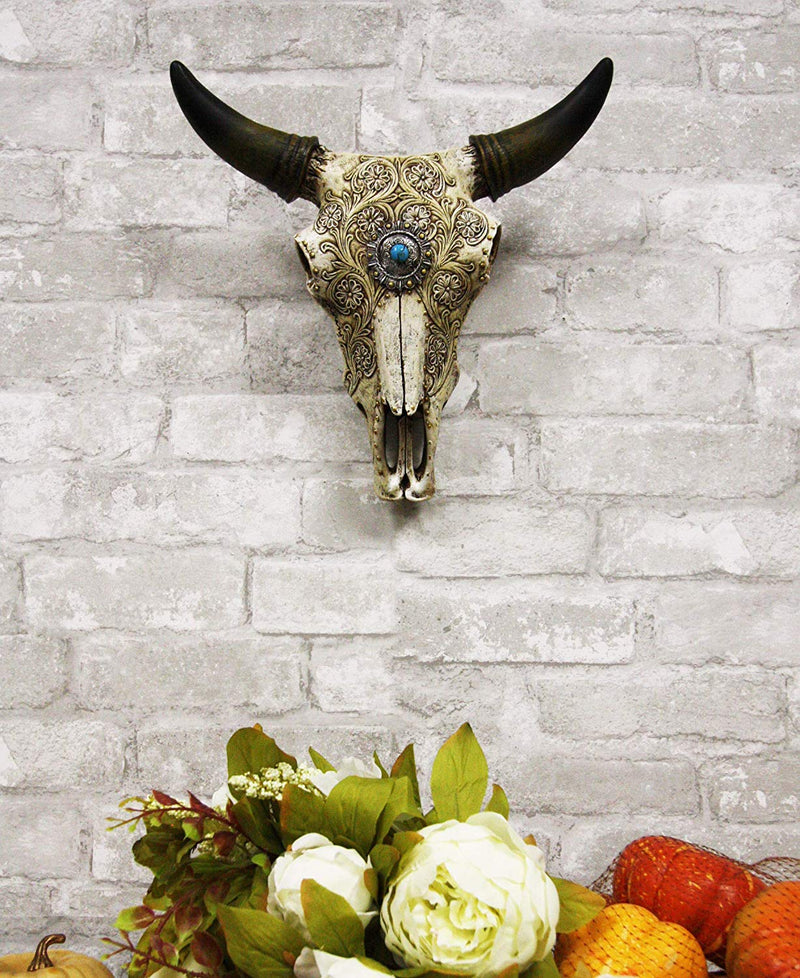 "Ebros 11.5"" Wide Southwest Steer Bison Buffalo Bull Cow Horned Skull Head with Lace Tooled Design and Turquoise Gem Hanging Wall Mount Flower Vase Decor"