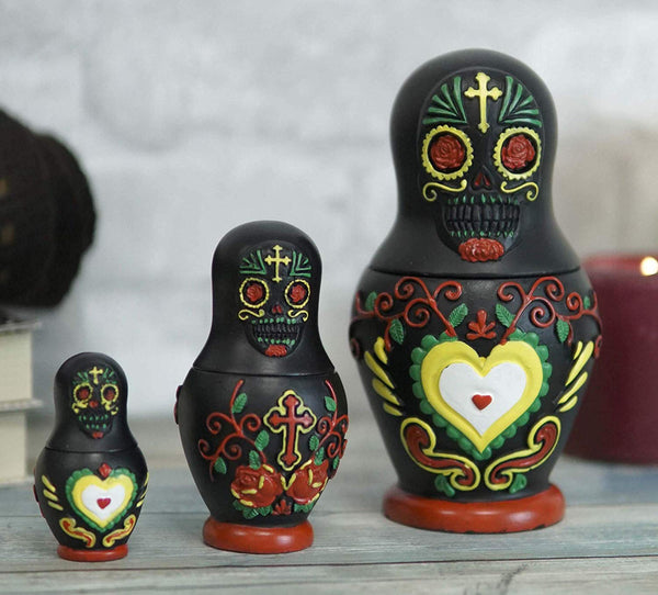 Ebros 3 Piece Set Black Sugar Skulls Nesting Dolls Matroyshka Babushka Figurines