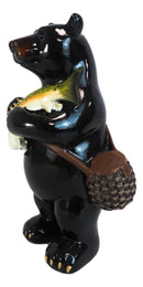 Western Rustic Fishing Black Bear Holding Largemouth Bass Fish Figurine Bears