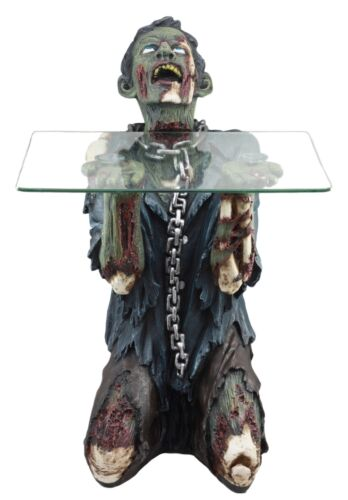 "Begging Chained Slave Walking Undead Zombie Side Table With Glass 22.5""H Decor"