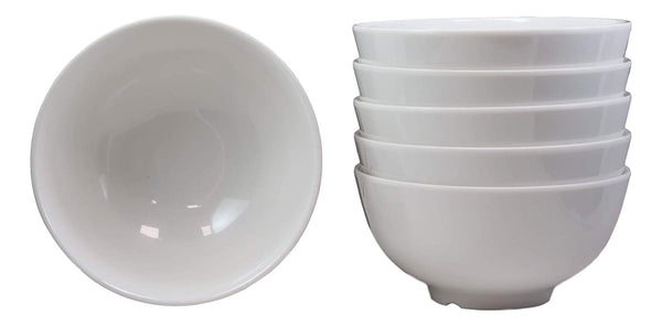 Ebros Gift Contemporary White Smooth Jade Melamine Large Deep Round Bowls 48oz Ramen Udon Pho Noodle Soups Salads Mixing Decorative Vegetable Bowl Serveware Restaurant Supply Home Kitchen (6)