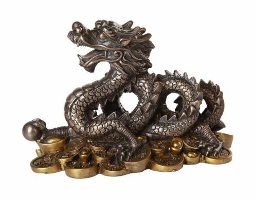 "Ebros Fengshui Dragon Bronze Finish Auspicious Home Decor 7"" Long Figurine"