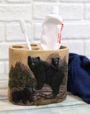 Western Rustic Pine Forest Mountain Black Bear With Cubs 5 Piece Bathroom Set