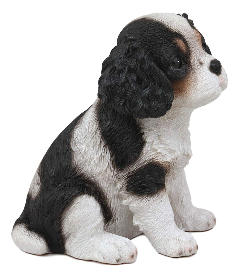 "Ebros Adorable Cavalier King Charles Spaniel Dog Breed Statue 5.75"" Long Pet Pal Puppy Dogs Collectible Decor Figurine with Glass Eyes Lifelike Sculpture"